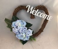 BLUE FRONT DOOR TWIG WREATH FLOWERS HYDRANGEA ROSE WALL DECOR WELCOME SIGN HEART
